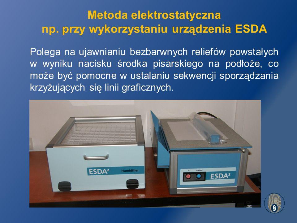 Metoda elektrostatyczna np. przy wykorzystaniu urządzenia ESDA
