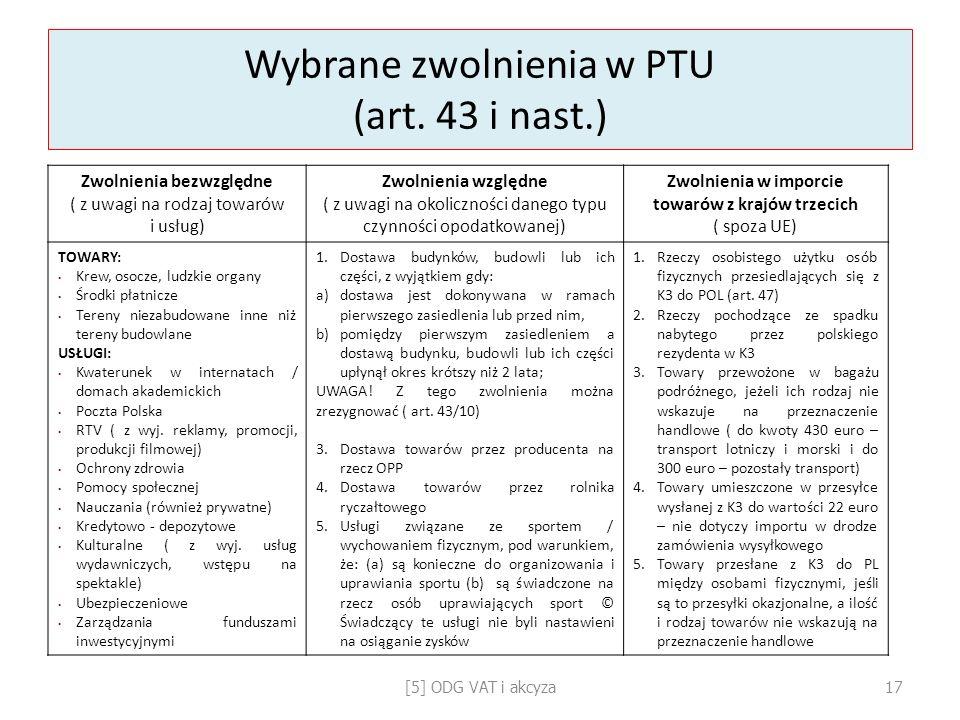 Wybrane zwolnienia w PTU (art. 43 i nast.)