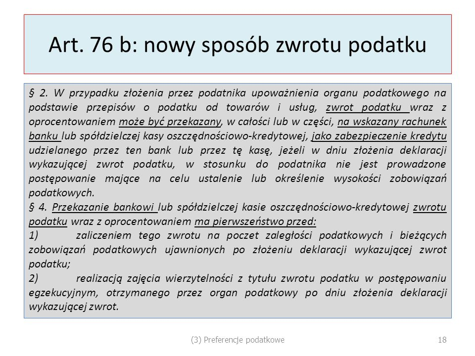 Art. 76 b: nowy sposób zwrotu podatku