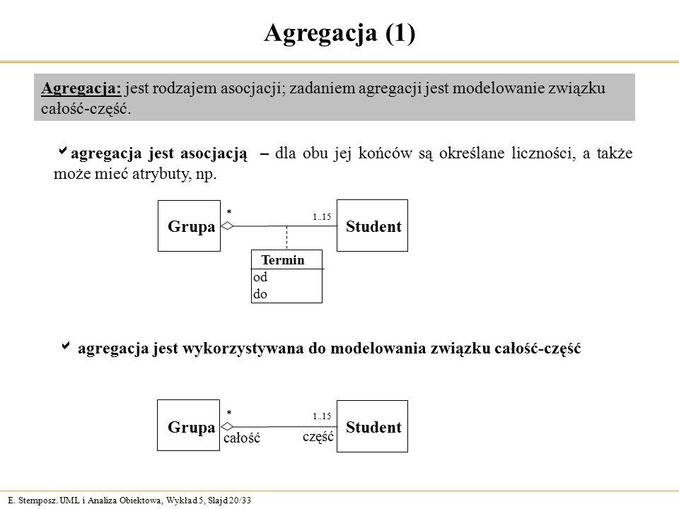 Agregacja (1) Agregacja: jest rodzajem asocjacji; zadaniem agregacji jest modelowanie związku całość-część.