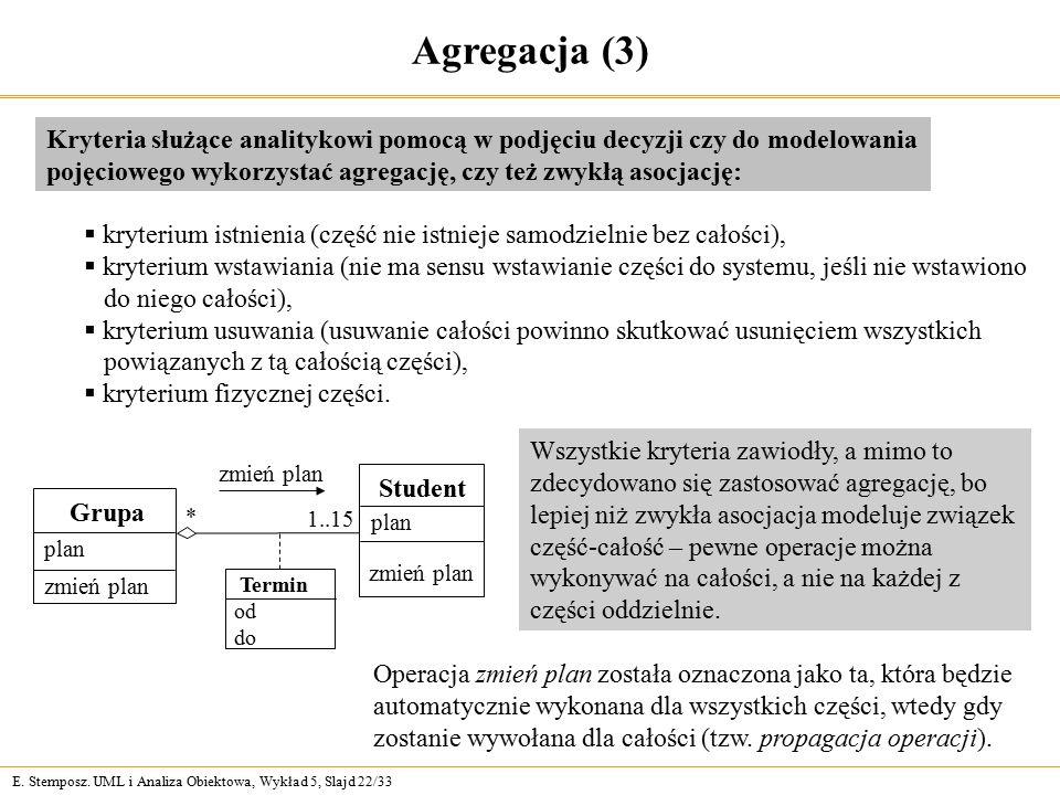 Agregacja (3) Kryteria służące analitykowi pomocą w podjęciu decyzji czy do modelowania pojęciowego wykorzystać agregację, czy też zwykłą asocjację:
