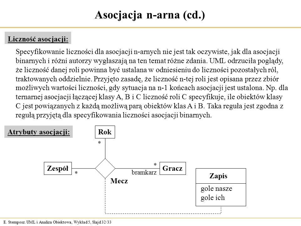 Asocjacja n-arna (cd.) Liczność asocjacji: