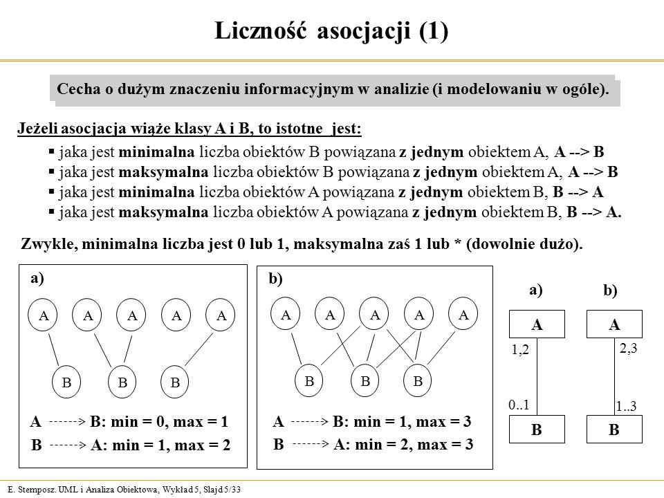 Liczność asocjacji (1) Cecha o dużym znaczeniu informacyjnym w analizie (i modelowaniu w ogóle).