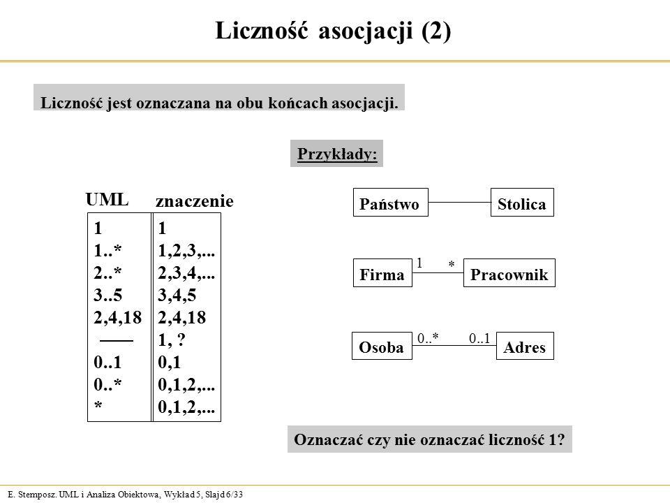 Liczność asocjacji (2) UML znaczenie 1 1..* 2..* 3..5 2,4,18 0..1 0..*