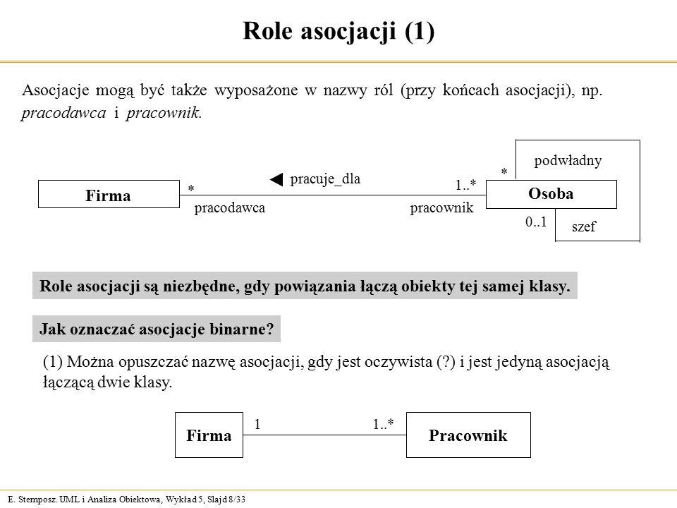 Role asocjacji (1) Asocjacje mogą być także wyposażone w nazwy ról (przy końcach asocjacji), np. pracodawca i pracownik.
