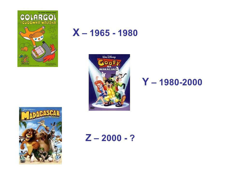 X – 1965 - 1980 Y – 1980-2000 Z – 2000 -