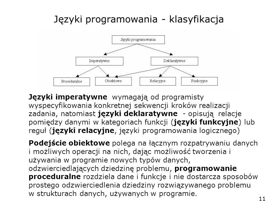Języki programowania - klasyfikacja