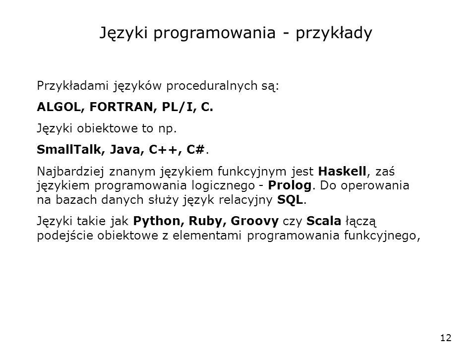 Języki programowania - przykłady