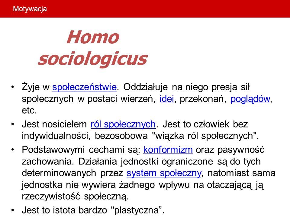 Motywacja Homo sociologicus. Żyje w społeczeństwie. Oddziałuje na niego presja sił społecznych w postaci wierzeń, idei, przekonań, poglądów, etc.
