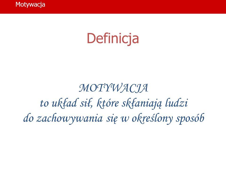 Definicja MOTYWACJA to układ sił, które skłaniają ludzi