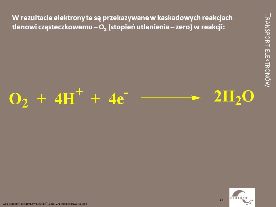 W rezultacie elektrony te są przekazywane w kaskadowych reakcjach tlenowi cząsteczkowemu – O2 (stopień utlenienia – zero) w reakcji: