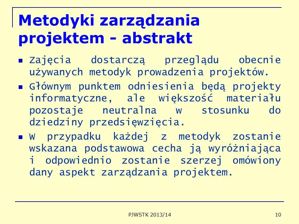 Metodyki zarządzania projektem - abstrakt