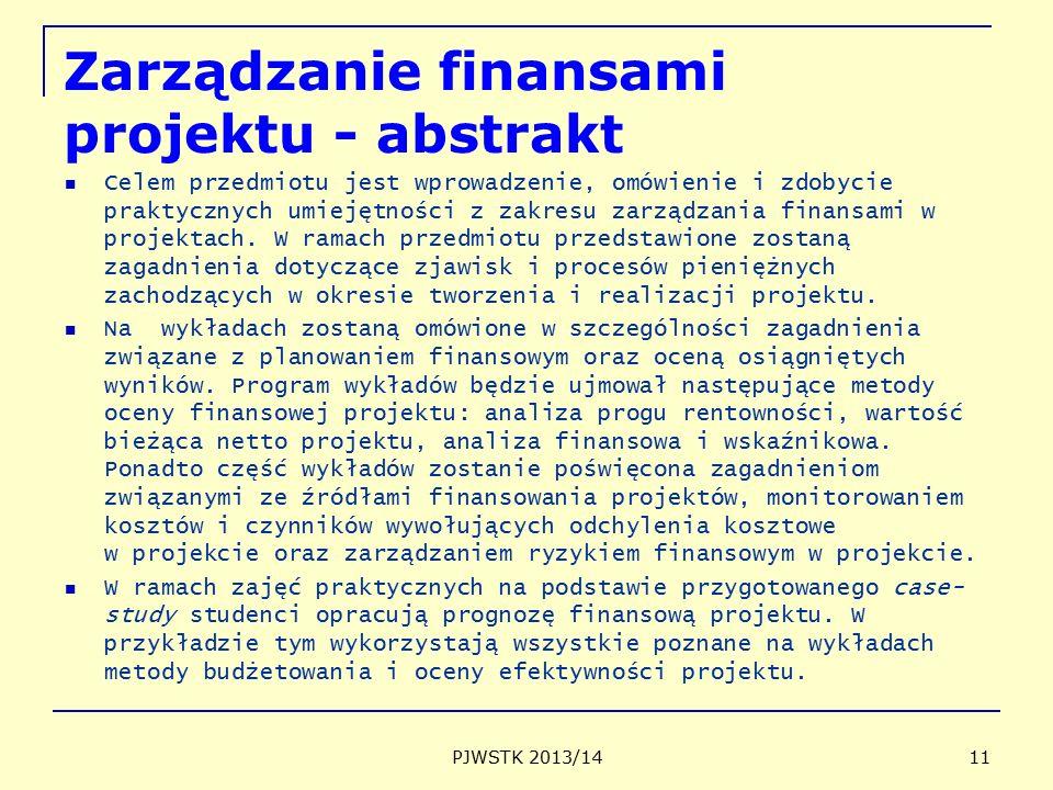 Zarządzanie finansami projektu - abstrakt