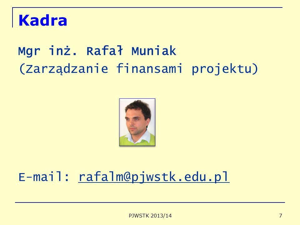 Kadra Mgr inż. Rafał Muniak (Zarządzanie finansami projektu)