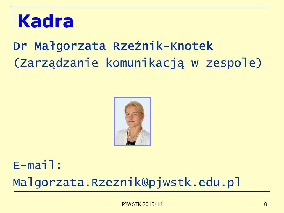 Kadra Dr Małgorzata Rzeźnik-Knotek (Zarządzanie komunikacją w zespole) E-mail: Malgorzata.Rzeznik@pjwstk.edu.pl