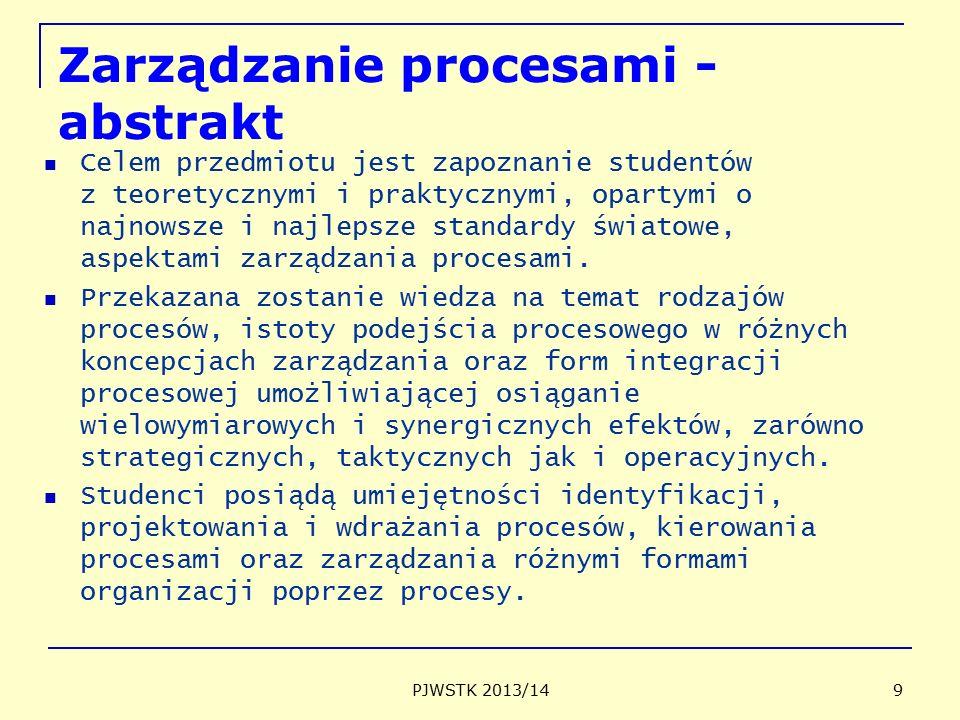 Zarządzanie procesami - abstrakt