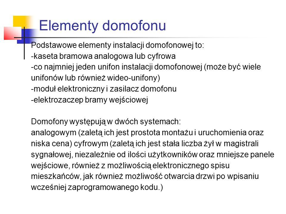Elementy domofonu Podstawowe elementy instalacji domofonowej to: