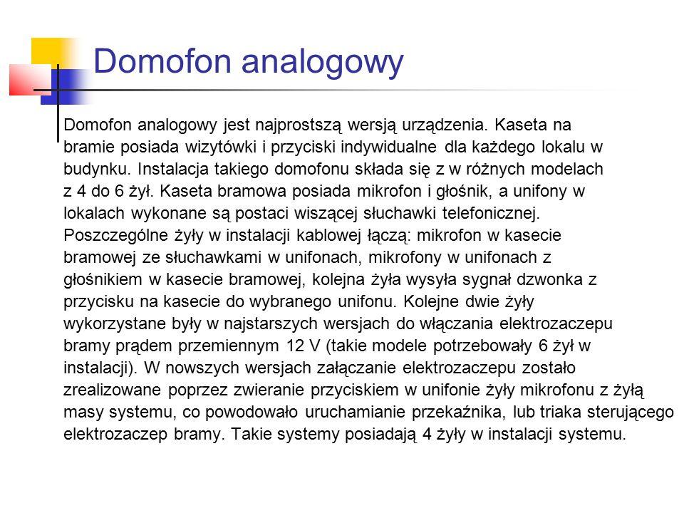 Domofon analogowy Domofon analogowy jest najprostszą wersją urządzenia. Kaseta na.