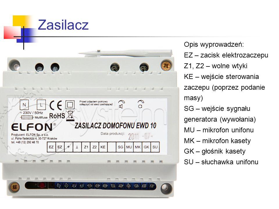 Zasilacz Opis wyprowadzeń: EZ – zacisk elektrozaczepu