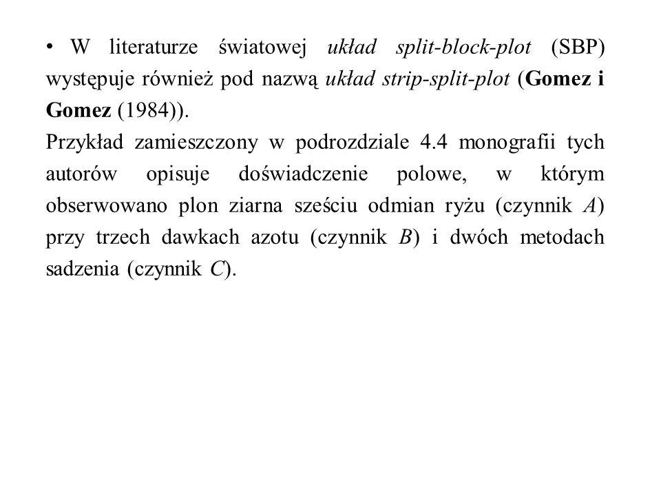 W literaturze światowej układ split-block-plot (SBP) występuje również pod nazwą układ strip-split-plot (Gomez i Gomez (1984)).