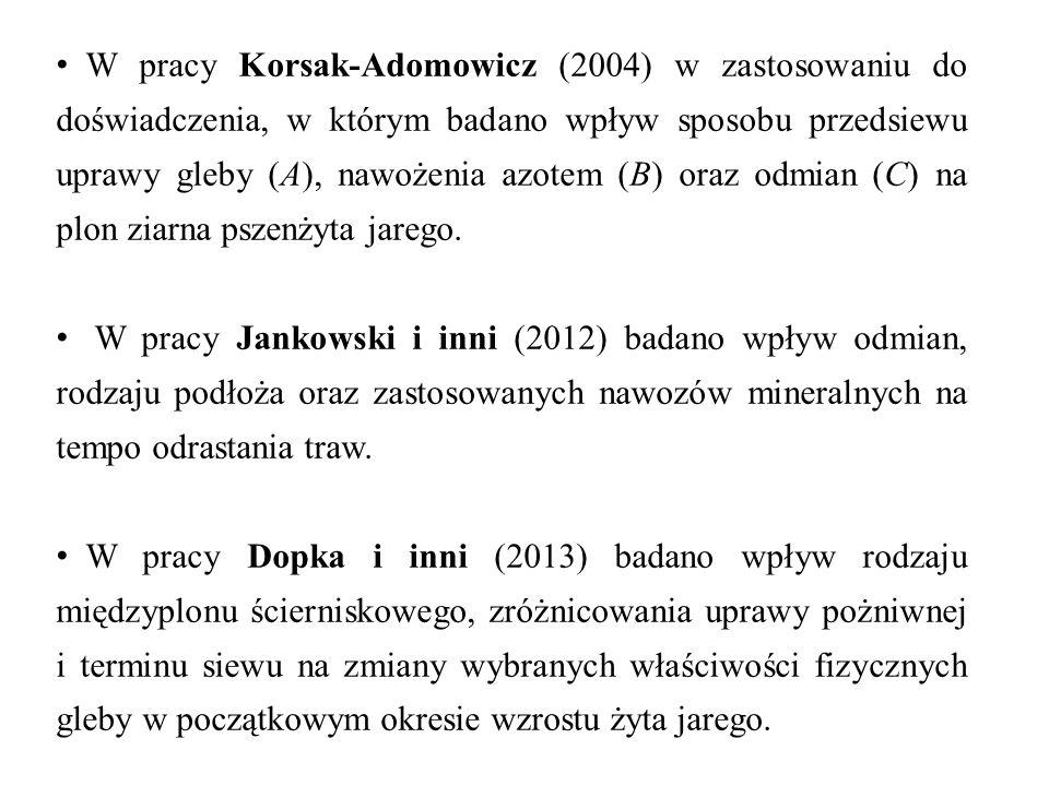 W pracy Korsak-Adomowicz (2004) w zastosowaniu do doświadczenia, w którym badano wpływ sposobu przedsiewu uprawy gleby (A), nawożenia azotem (B) oraz odmian (C) na plon ziarna pszenżyta jarego.