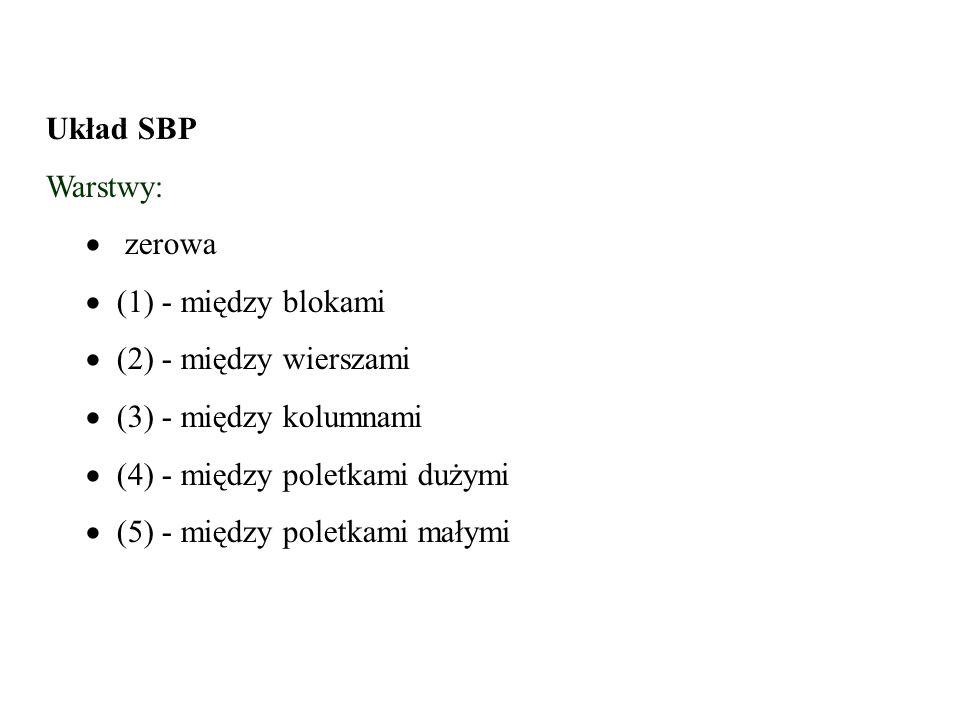 Układ SBP Warstwy:   zerowa.   (1) - między blokami.  (2) - między wierszami.  (3) - między kolumnami.