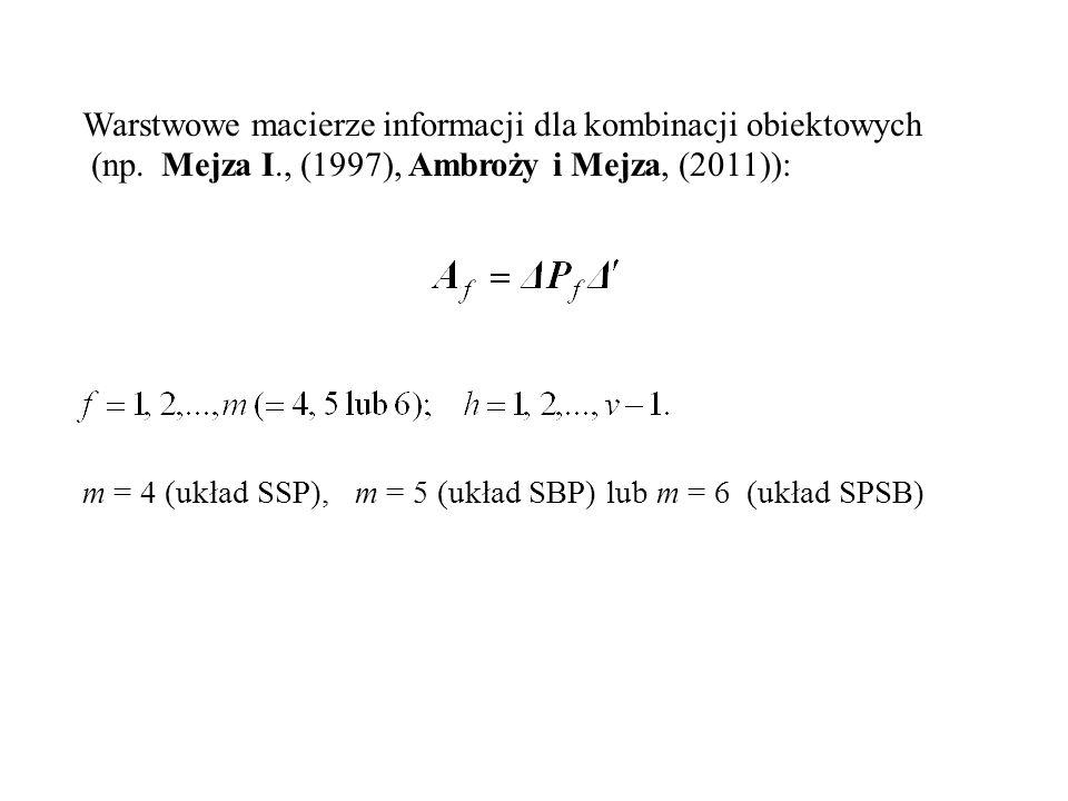 Warstwowe macierze informacji dla kombinacji obiektowych
