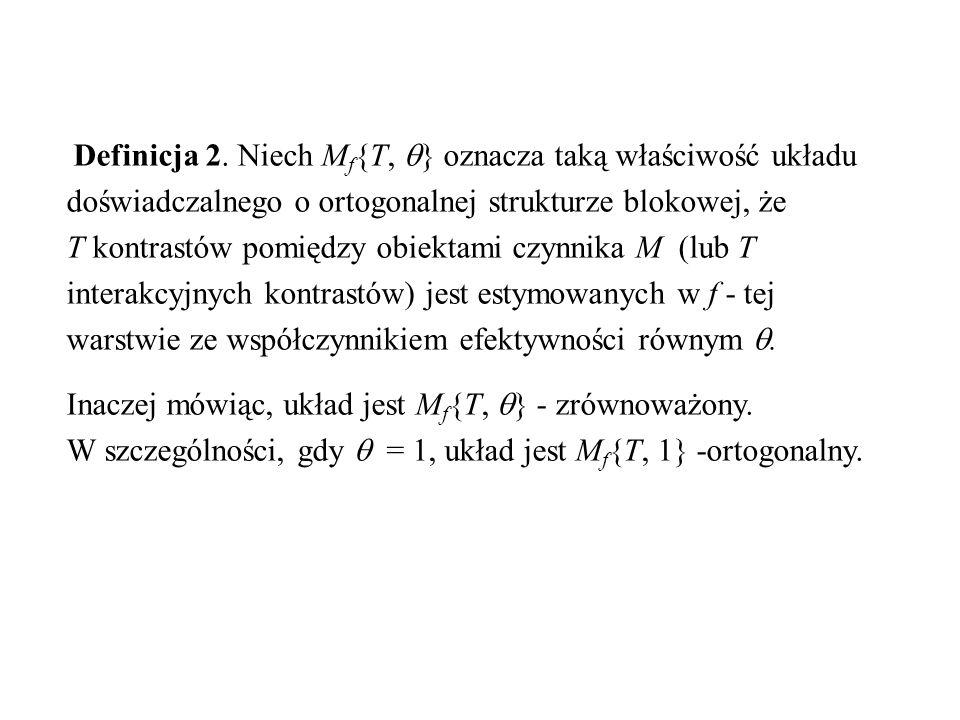 Definicja 2. Niech Mf{T, } oznacza taką właściwość układu doświadczalnego o ortogonalnej strukturze blokowej, że T kontrastów pomiędzy obiektami czynnika M (lub T interakcyjnych kontrastów) jest estymowanych w f - tej warstwie ze współczynnikiem efektywności równym .