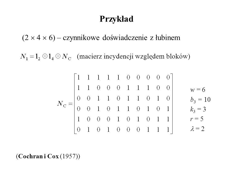 Przykład (2  4  6) – czynnikowe doświadczenie z łubinem