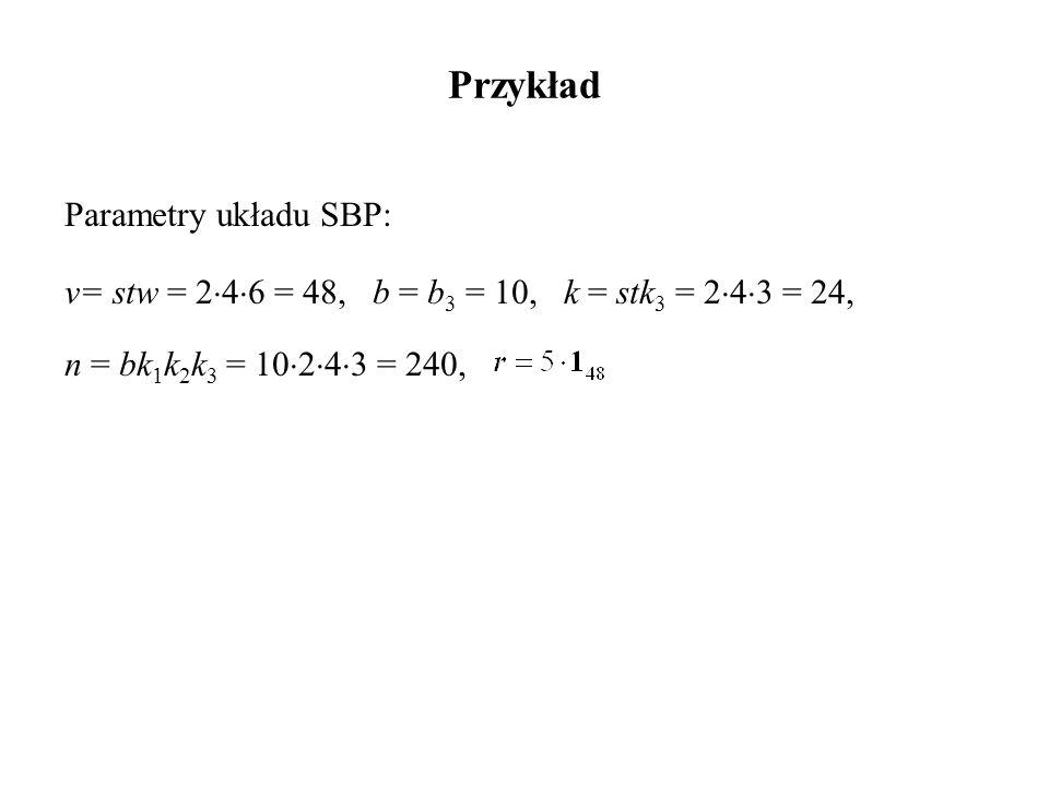 Przykład Parametry układu SBP: