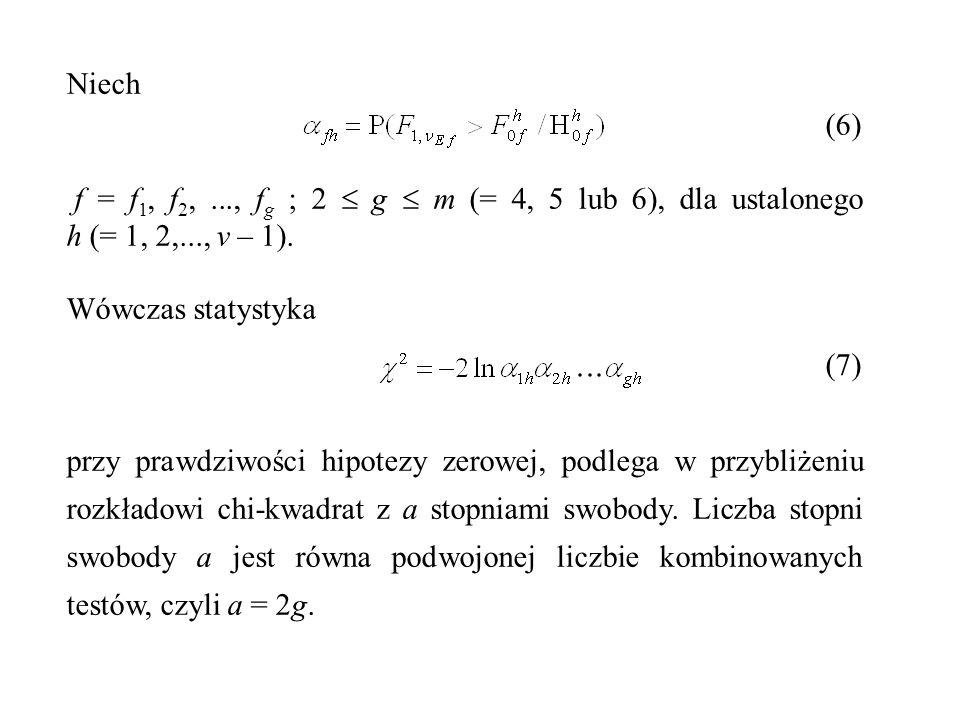 Niech (6) f = f1, f2, ..., fg ; 2  g  m (= 4, 5 lub 6), dla ustalonego h (= 1, 2,..., v – 1).