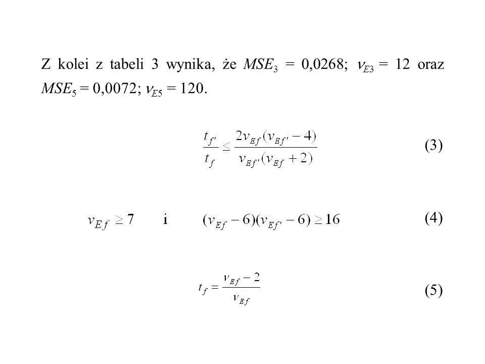 Z kolei z tabeli 3 wynika, że MSE3 = 0,0268; E3 = 12 oraz MSE5 = 0,0072; E5 = 120.
