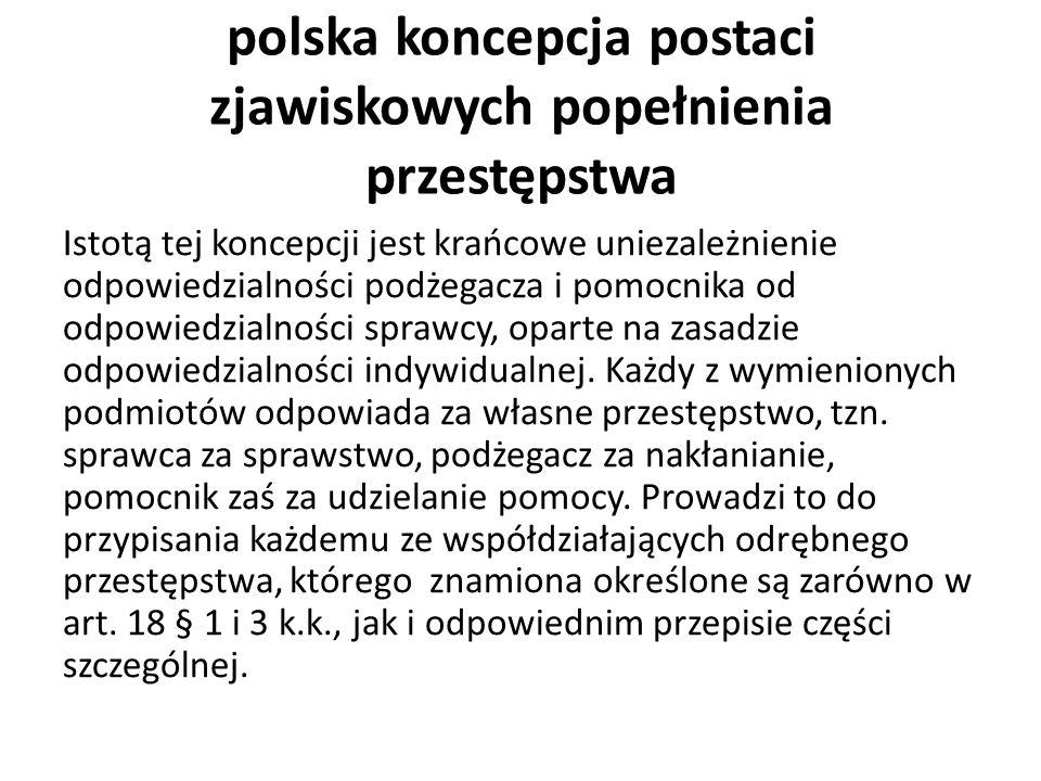 polska koncepcja postaci zjawiskowych popełnienia przestępstwa