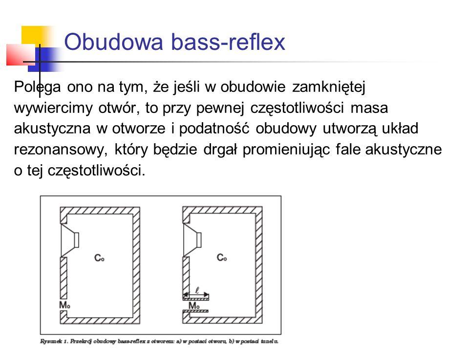 Obudowa bass-reflex Polega ono na tym, że jeśli w obudowie zamkniętej