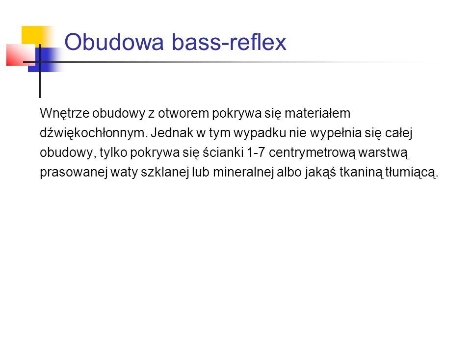 Obudowa bass-reflex Wnętrze obudowy z otworem pokrywa się materiałem