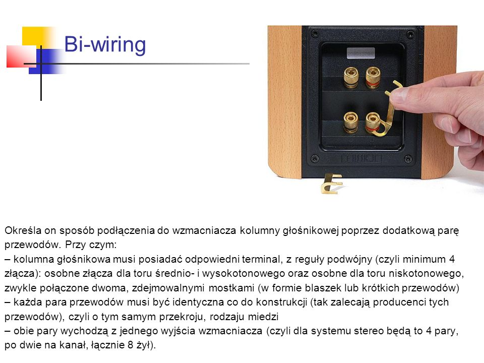 Bi-wiring Określa on sposób podłączenia do wzmacniacza kolumny głośnikowej poprzez dodatkową parę. przewodów. Przy czym: