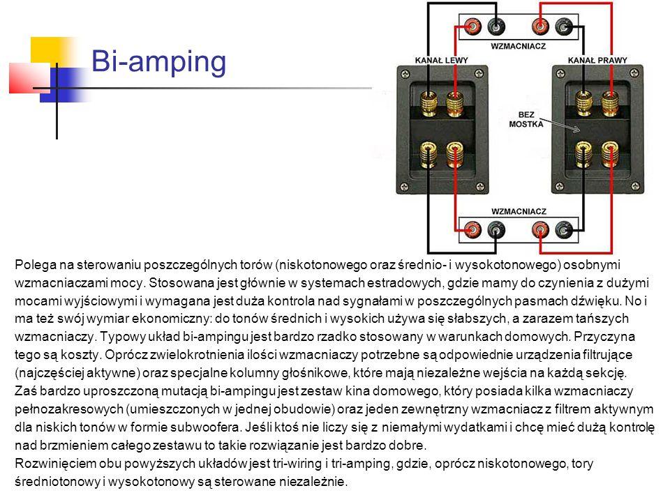 Bi-amping Polega na sterowaniu poszczególnych torów (niskotonowego oraz średnio- i wysokotonowego) osobnymi.