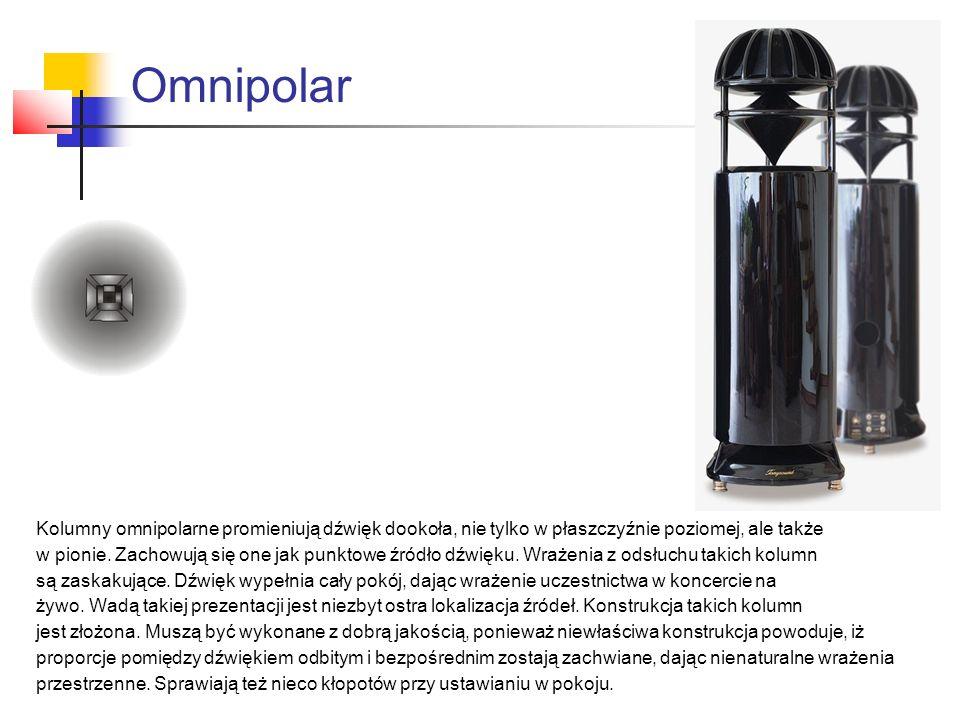 Omnipolar Kolumny omnipolarne promieniują dźwięk dookoła, nie tylko w płaszczyźnie poziomej, ale także.