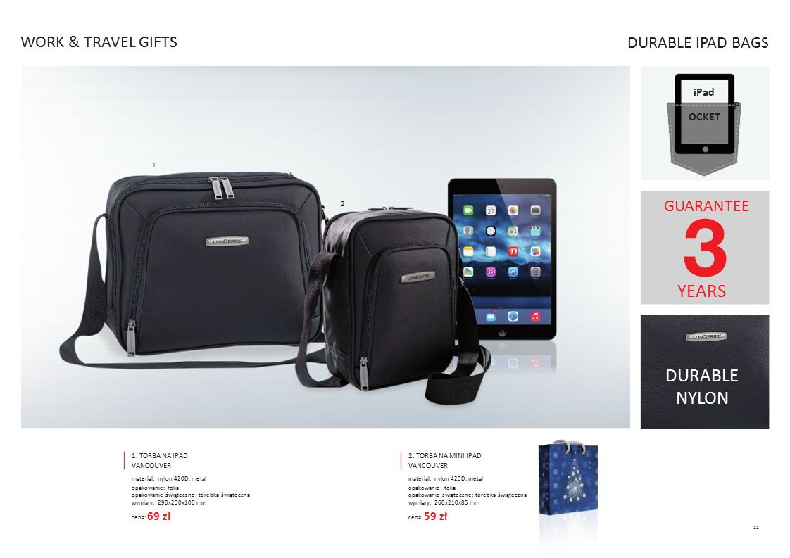 YEARS DURABLE WORK & TRAVEL GIFTS DURABLE IPAD BAGS GUARANTEE NYLON