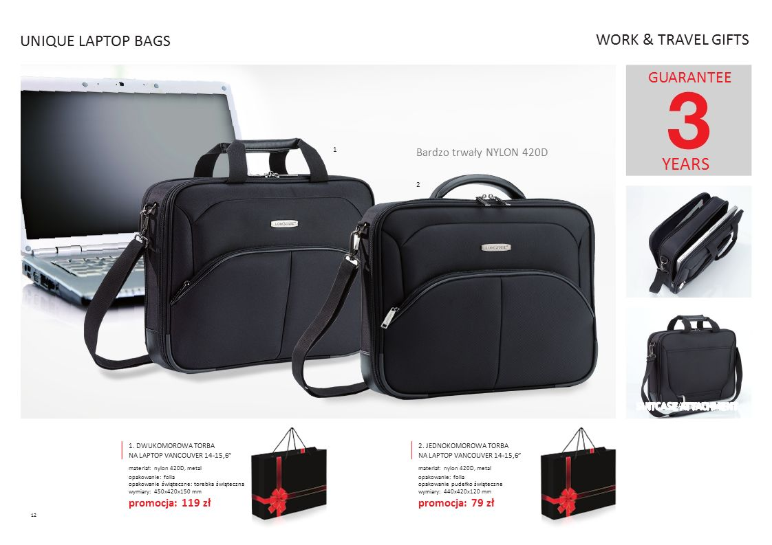 YEARS UNIQUE LAPTOP BAGS WORK & TRAVEL GIFTS GUARANTEE