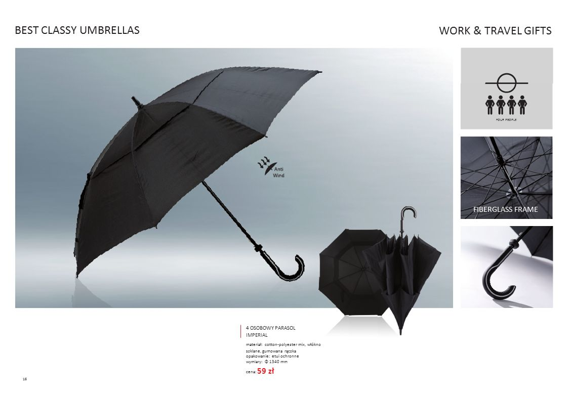 BEST CLASSY UMBRELLAS WORK & TRAVEL GIFTS 1340 mm 59 zł