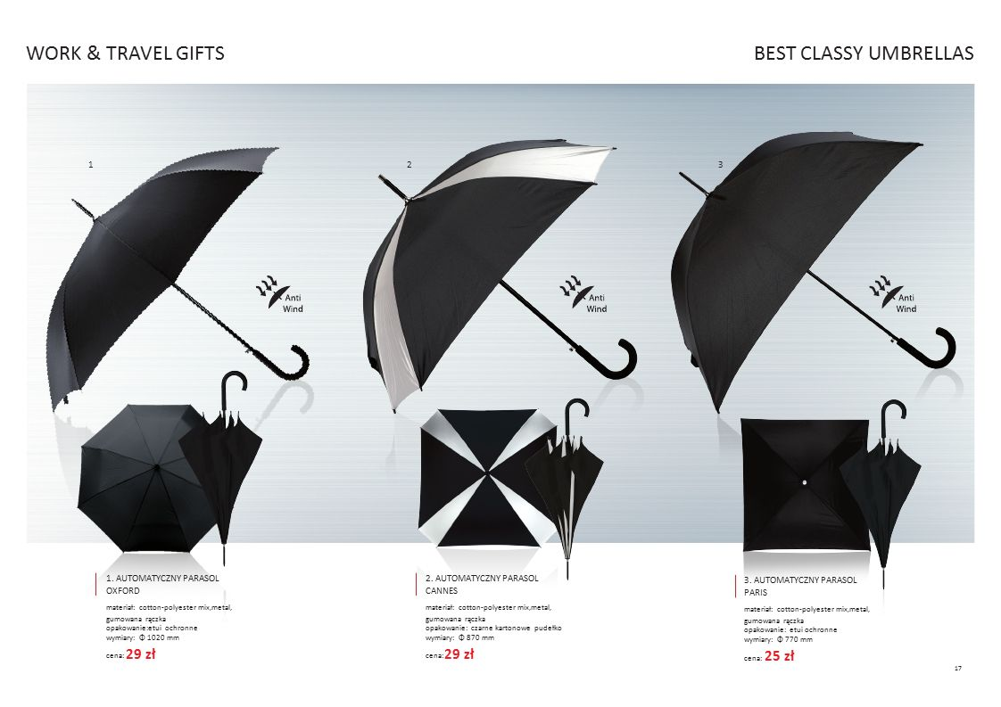WORK & TRAVEL GIFTS BEST CLASSY UMBRELLAS 29 zł 29 zł 25 zł 1 2 3