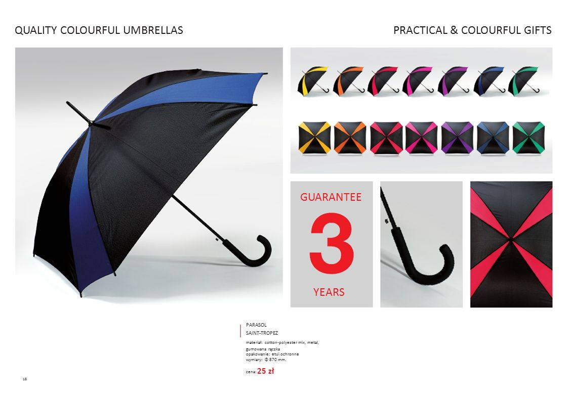QUALITY COLOURFUL UMBRELLAS PRACTICAL & COLOURFUL GIFTS