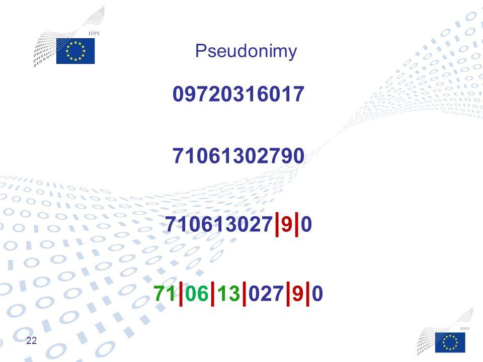Pseudonimy 09720316017 71061302790 710613027|9|0 71|06|13|027|9|0