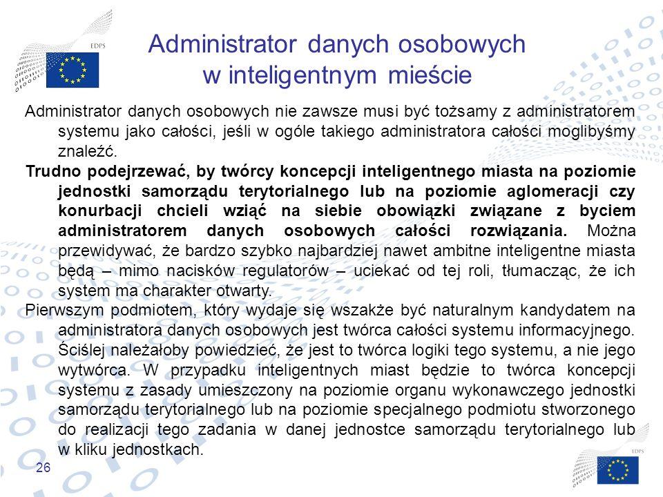 Administrator danych osobowych w inteligentnym mieście