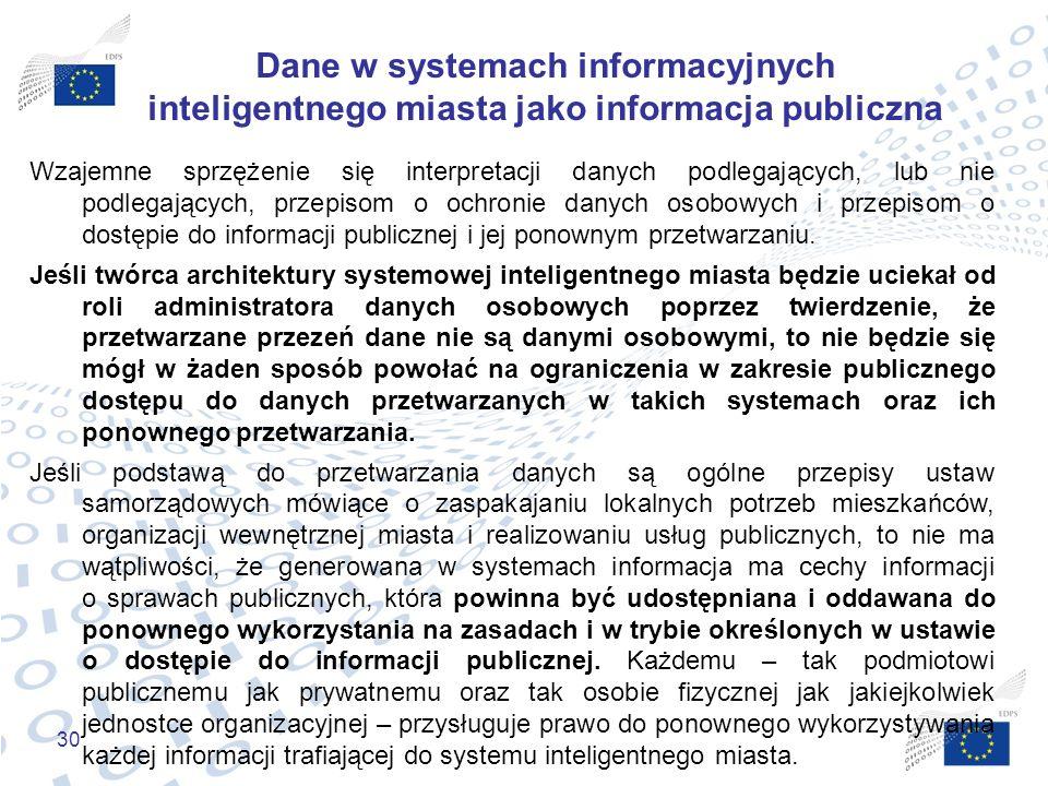 Dane w systemach informacyjnych inteligentnego miasta jako informacja publiczna