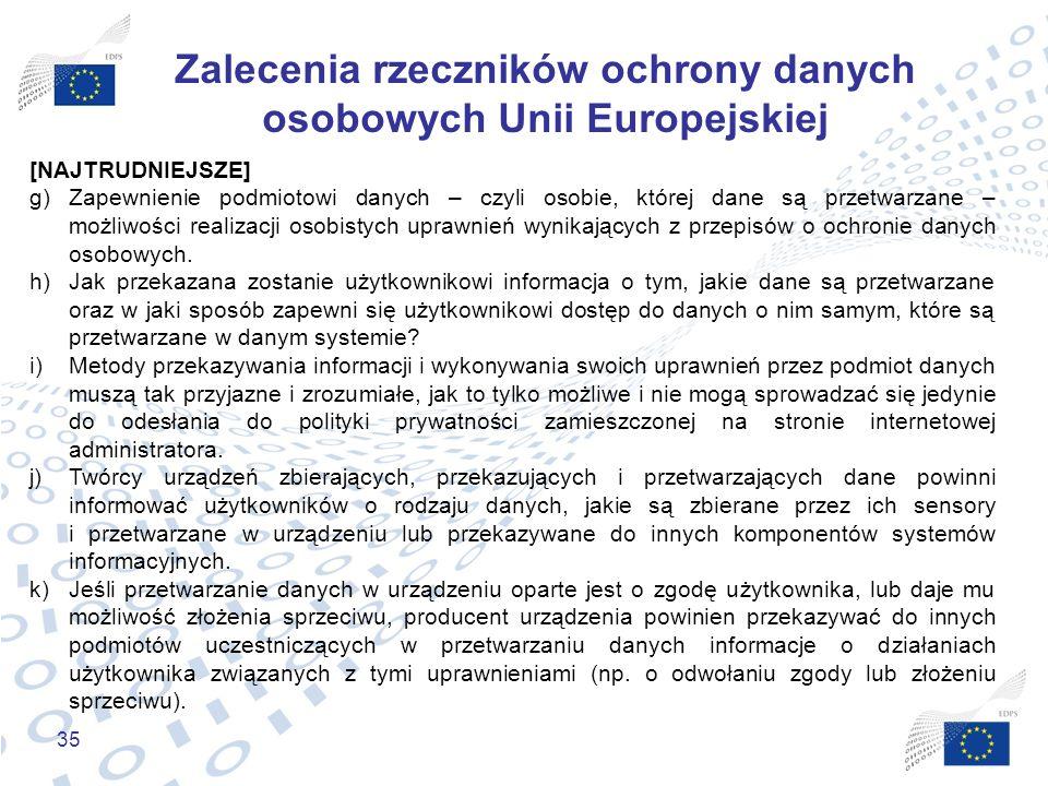 Zalecenia rzeczników ochrony danych osobowych Unii Europejskiej