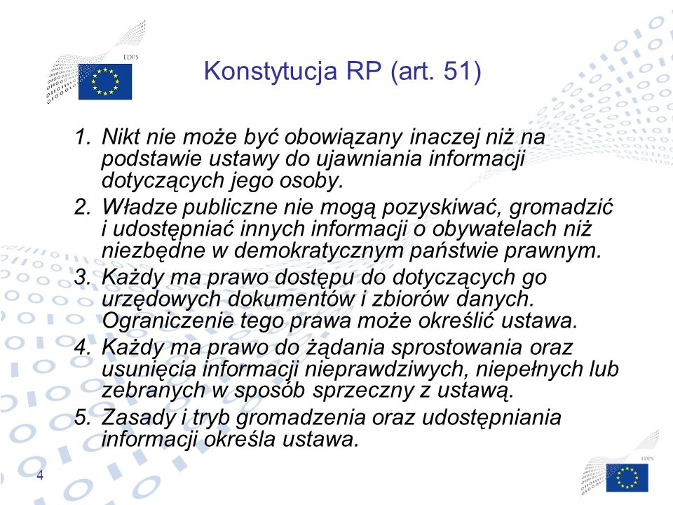 Konstytucja RP (art. 51) Nikt nie może być obowiązany inaczej niż na podstawie ustawy do ujawniania informacji dotyczących jego osoby.