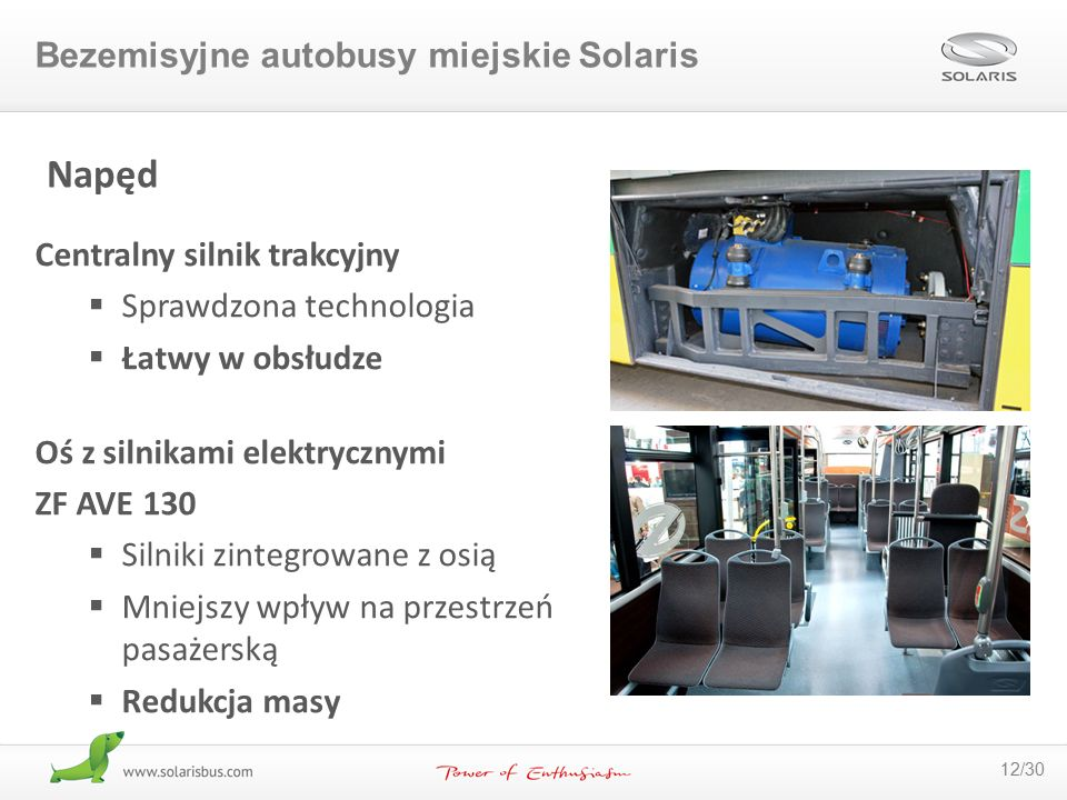 Napęd Bezemisyjne autobusy miejskie Solaris Centralny silnik trakcyjny