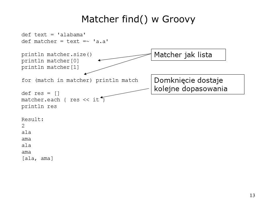 Matcher find() w Groovy